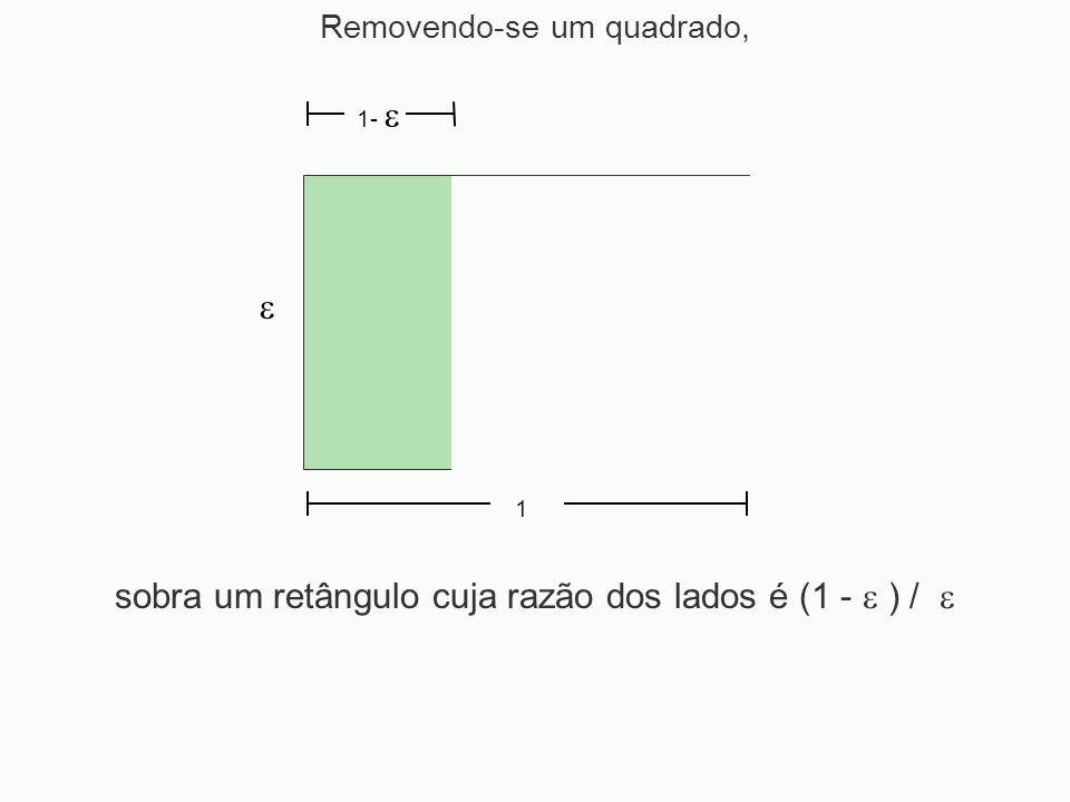 Removendo-se um quadrado, 1 1- sobra um retângulo cuja razão dos lados é (1 - ) /