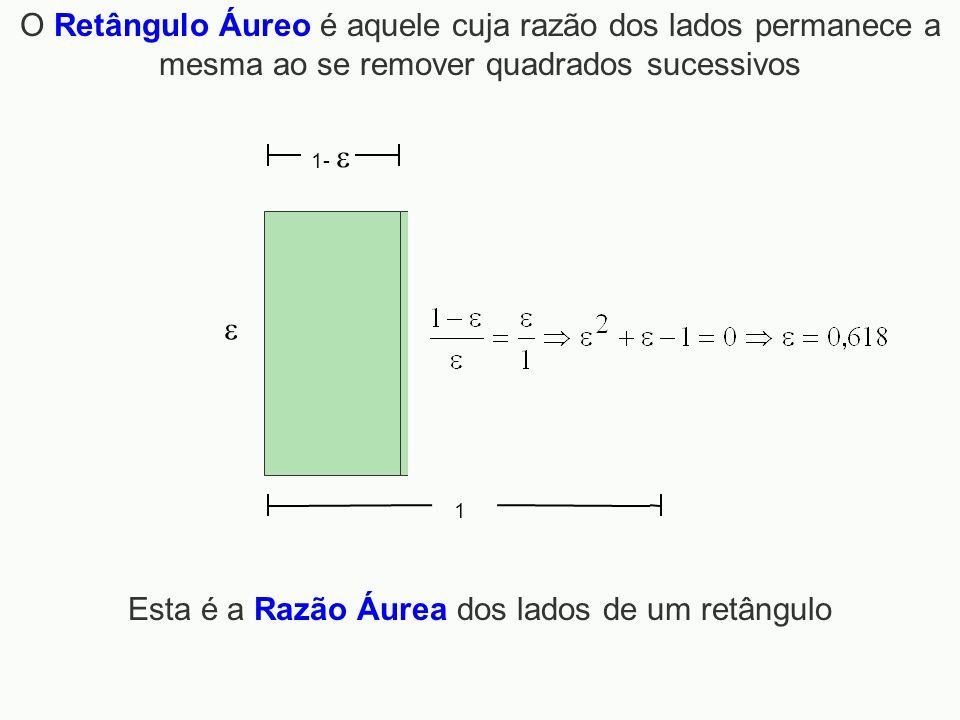1 1- O Retângulo Áureo é aquele cuja razão dos lados permanece a mesma ao se remover quadrados sucessivos Esta é a Razão Áurea dos lados de um retângu