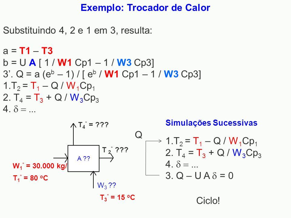 Exemplo: Trocador de Calor T 1 * = 80 o C W 1 * = 30.000 kg/h A ?? T 2 * ??? W 3 ?? T 3 * = 15 o C T 4 * = ??? 1.T 2 = T 1 – Q / W 1 Cp 1 2. T 4 = T 3