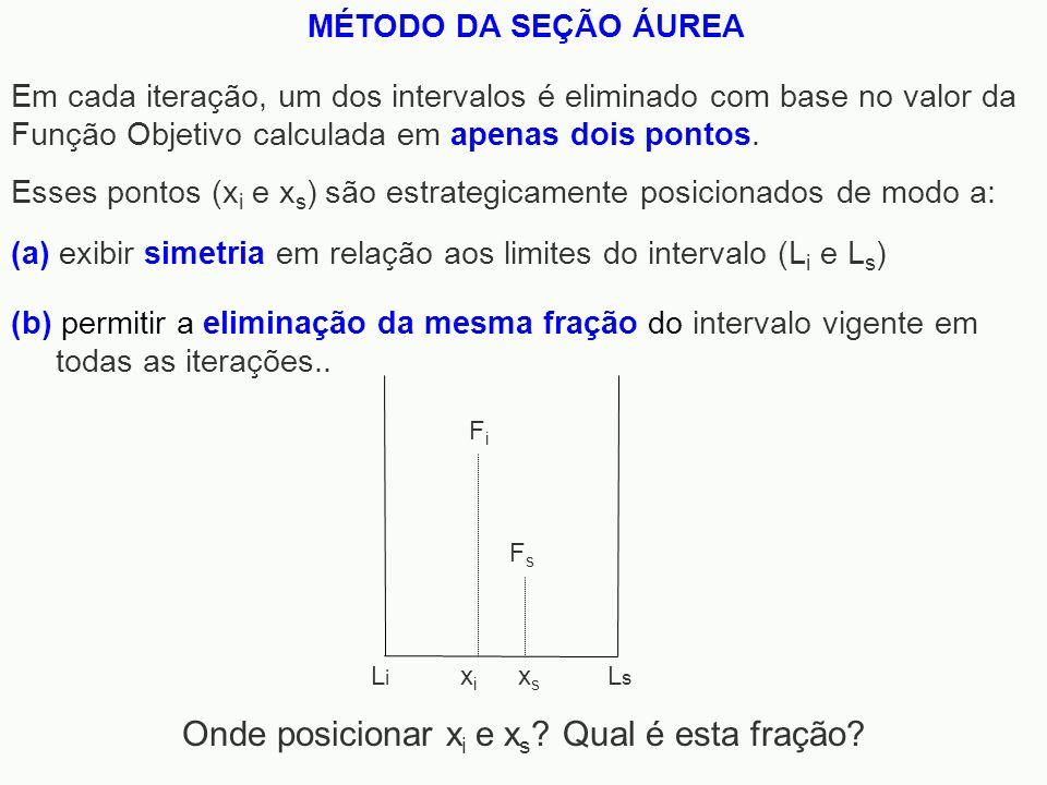 MÉTODO DA SEÇÃO ÁUREA Em cada iteração, um dos intervalos é eliminado com base no valor da Função Objetivo calculada em apenas dois pontos. Onde posic