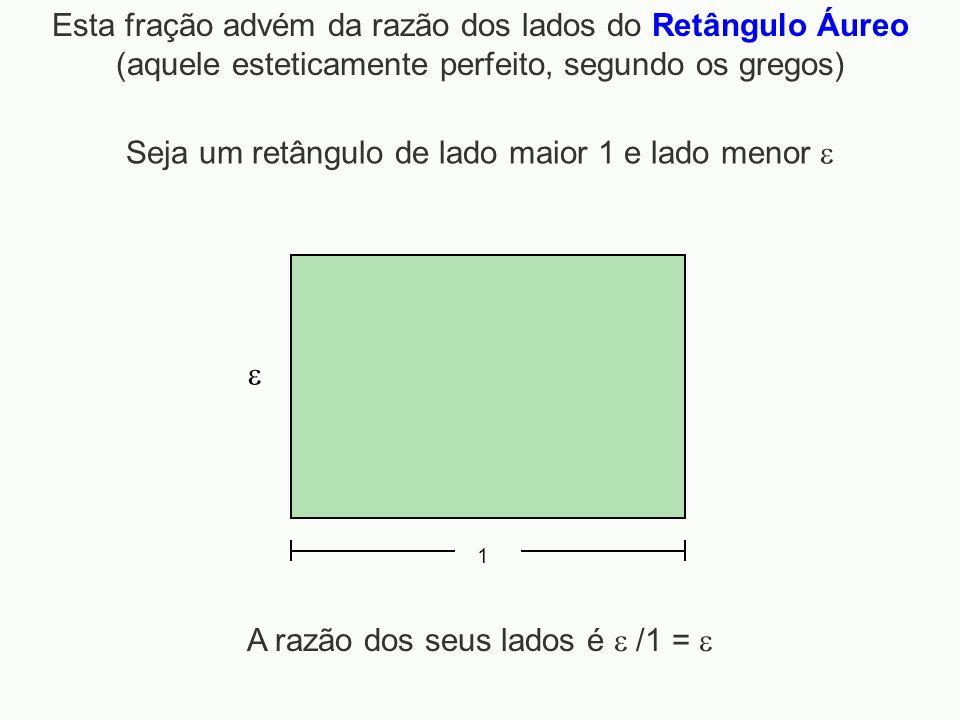 Esta fração advém da razão dos lados do Retângulo Áureo (aquele esteticamente perfeito, segundo os gregos) 1 Seja um retângulo de lado maior 1 e lado