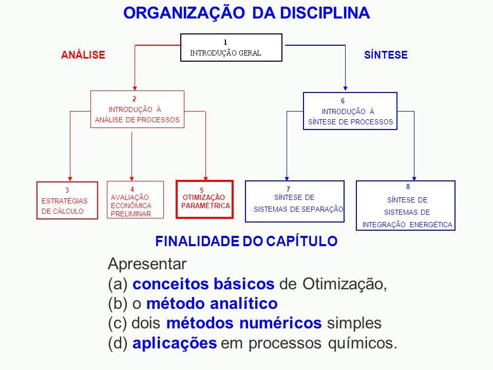 ORGANIZAÇÃO DA DISCIPLINA OTIMIZAÇÃO PARAMÉTRICA 5 INTRODUÇÃO À SÍNTESE DE PROCESSOS 8 6 SÍNTESE DE SISTEMAS DE SEPARAÇÃO 7 SÍNTESE SÍNTESE DE SISTEMA