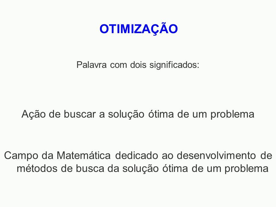 Campo da Matemática dedicado ao desenvolvimento de métodos de busca da solução ótima de um problema OTIMIZAÇÃO Ação de buscar a solução ótima de um pr