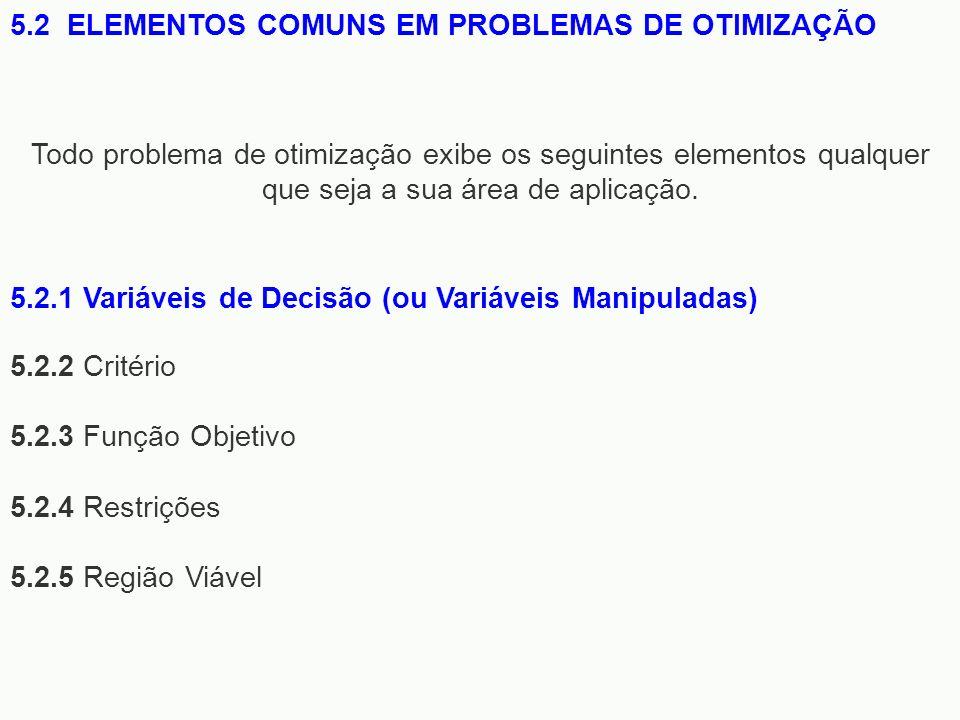 5.2.2 Critério 5.2.3 Função Objetivo 5.2.4 Restrições 5.2.5 Região Viável 5.2 ELEMENTOS COMUNS EM PROBLEMAS DE OTIMIZAÇÃO Todo problema de otimização