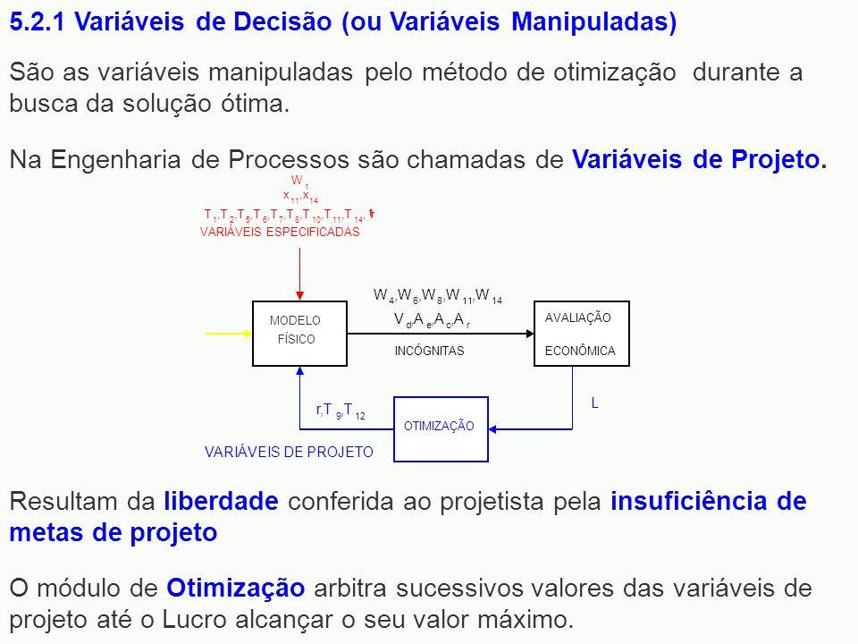 São as variáveis manipuladas pelo método de otimização durante a busca da solução ótima. Na Engenharia de Processos são chamadas de Variáveis de Proje