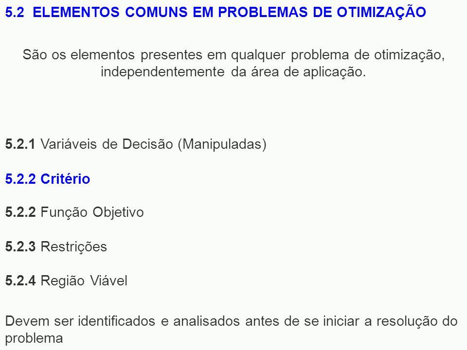 5.2.1 Variáveis de Decisão (Manipuladas) 5.2.2 Função Objetivo 5.2.3 Restrições 5.2.4 Região Viável 5.2 ELEMENTOS COMUNS EM PROBLEMAS DE OTIMIZAÇÃO Sã