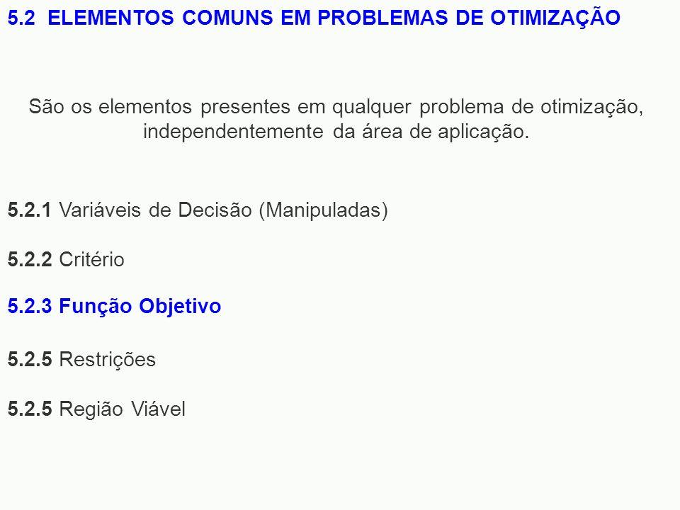 5.2.1 Variáveis de Decisão (Manipuladas) 5.2.2 Critério 5.2.5 Restrições 5.2.5 Região Viável 5.2 ELEMENTOS COMUNS EM PROBLEMAS DE OTIMIZAÇÃO São os el