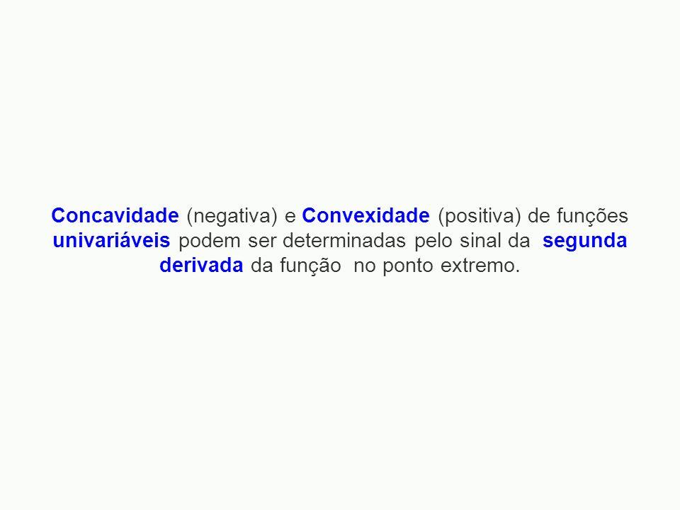 Concavidade (negativa) e Convexidade (positiva) de funções univariáveis podem ser determinadas pelo sinal da segunda derivada da função no ponto extre
