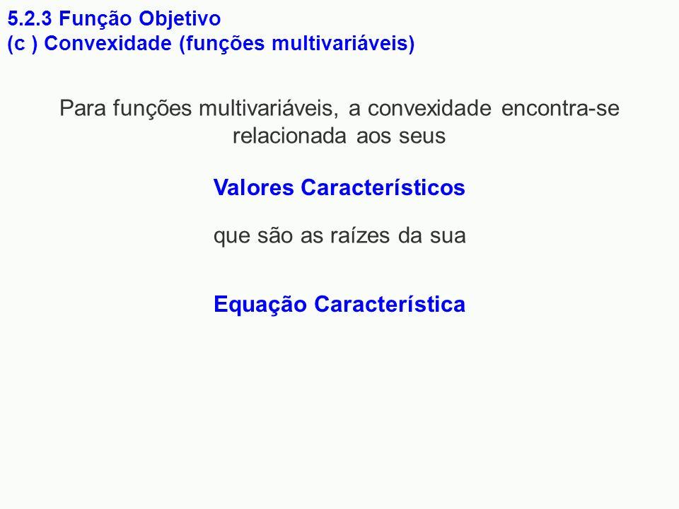 5.2.3 Função Objetivo (c ) Convexidade (funções multivariáveis) Para funções multivariáveis, a convexidade encontra-se relacionada aos seus Valores Ca