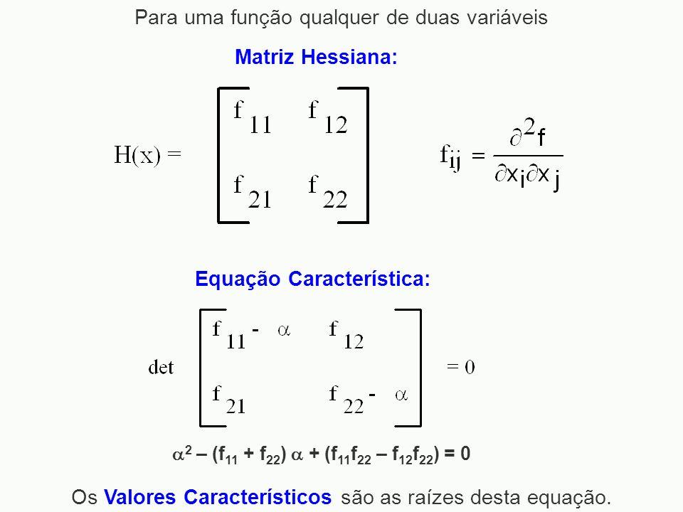 Matriz Hessiana: Equação Característica: Os Valores Característicos são as raízes desta equação. 2 – (f 11 + f 22 ) + (f 11 f 22 – f 12 f 22 ) = 0 Par