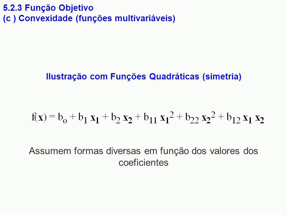 Ilustração com Funções Quadráticas (simetria) 5.2.3 Função Objetivo (c ) Convexidade (funções multivariáveis) Assumem formas diversas em função dos va