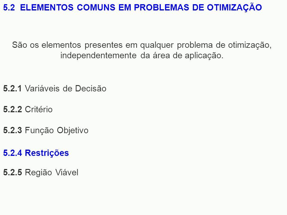 5.2.1 Variáveis de Decisão 5.2.2 Critério 5.2.3 Função Objetivo 5.2.5 Região Viável 5.2 ELEMENTOS COMUNS EM PROBLEMAS DE OTIMIZAÇÃO São os elementos p