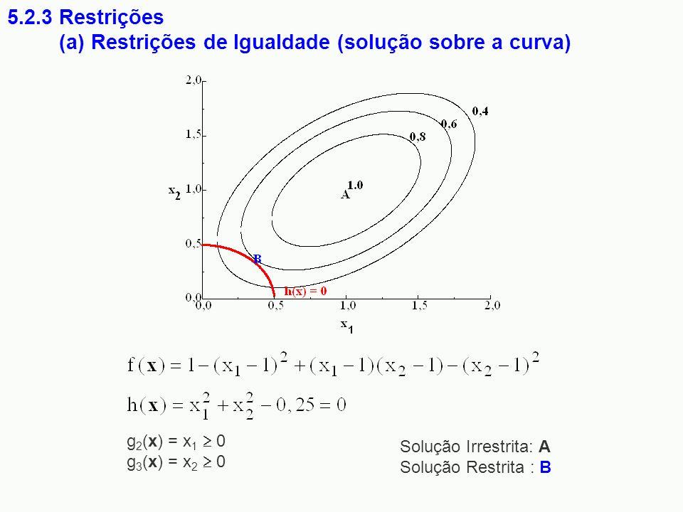 5.2.3 Restrições (a) Restrições de Igualdade (solução sobre a curva) Solução Irrestrita: A Solução Restrita : B g 2 (x) = x 1 0 g 3 (x) = x 2 0