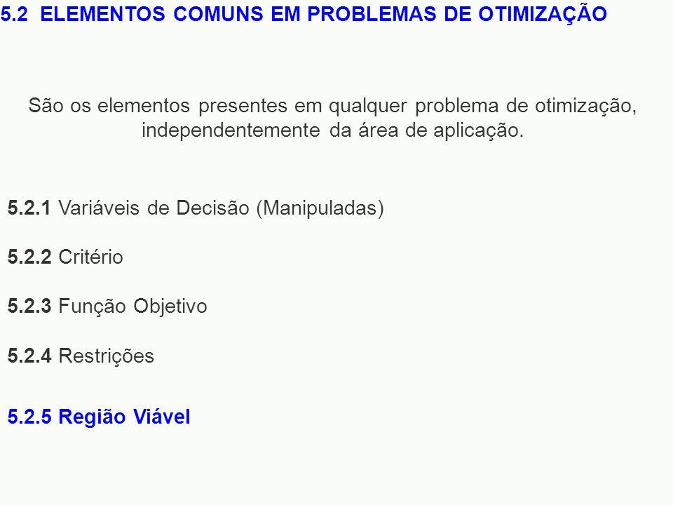 5.2.1 Variáveis de Decisão (Manipuladas) 5.2.2 Critério 5.2.3 Função Objetivo 5.2.4 Restrições 5.2 ELEMENTOS COMUNS EM PROBLEMAS DE OTIMIZAÇÃO São os