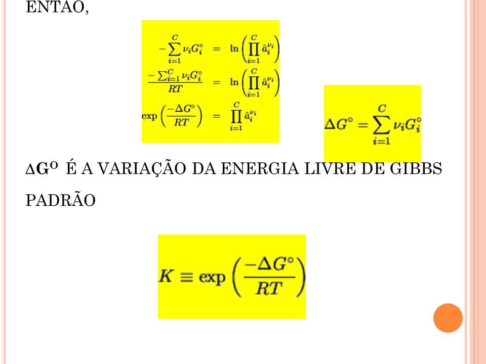 ENTÃO, G O É A VARIAÇÃO DA ENERGIA LIVRE DE GIBBS PADRÃO