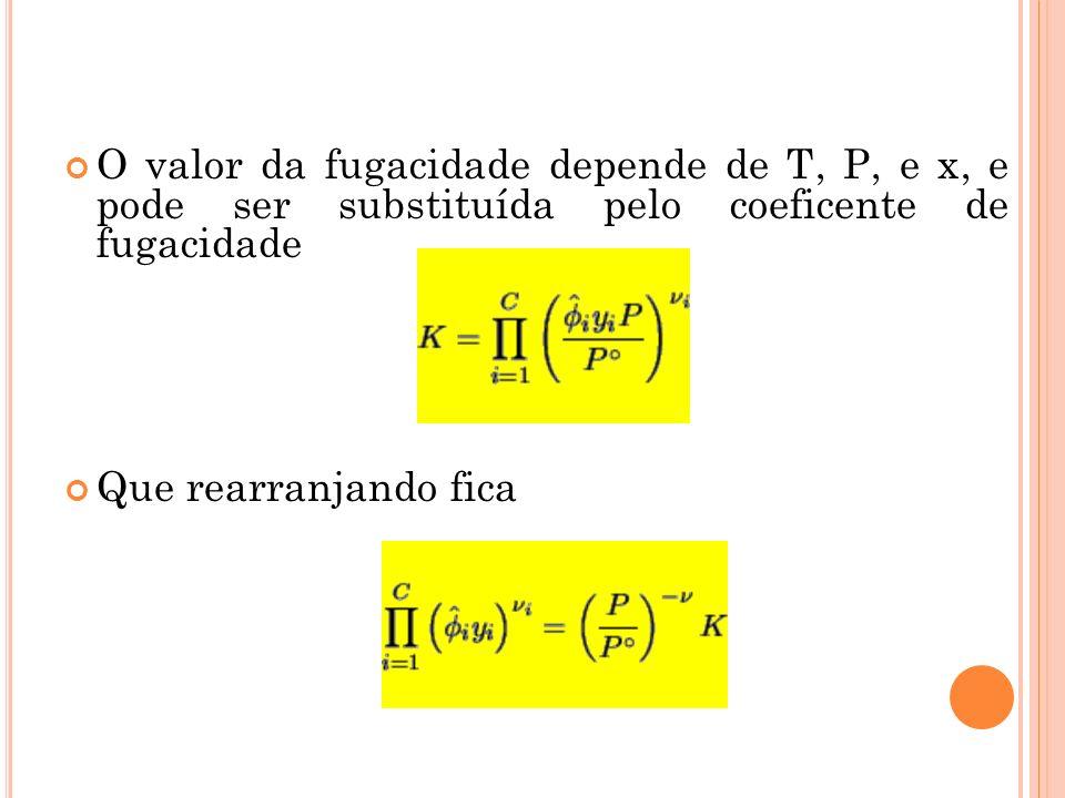 O valor da fugacidade depende de T, P, e x, e pode ser substituída pelo coeficente de fugacidade Que rearranjando fica
