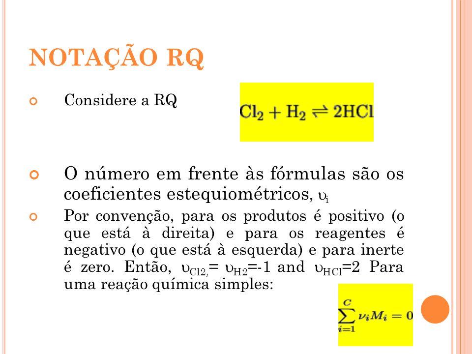 NOTAÇÃO RQ Considere a RQ O número em frente às fórmulas são os coeficientes estequiométricos, i Por convenção, para os produtos é positivo (o que est