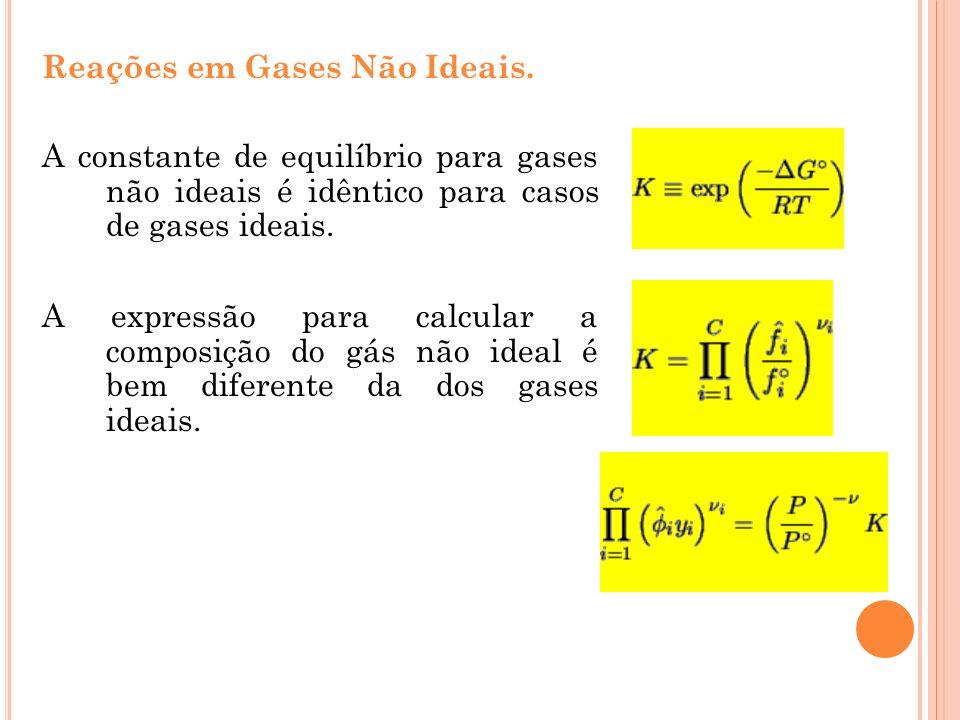 Reações em Gases Não Ideais. A constante de equilíbrio para gases não ideais é idêntico para casos de gases ideais. A expressão para calcular a compos