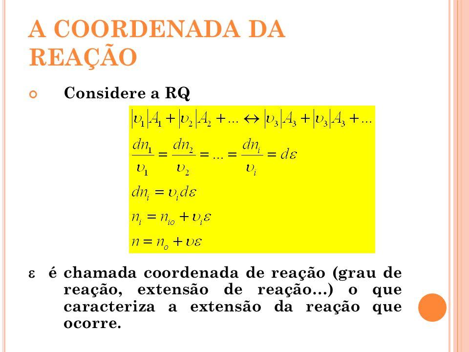 A COORDENADA DA REAÇÃO Considere a RQ é chamada coordenada de reação (grau de reação, extensão de reação…) o que caracteriza a extensão da reação que