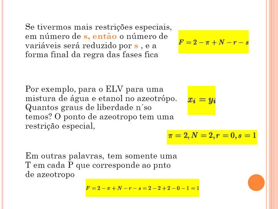 Se tivermos mais restrições especiais, em número de s, então o número de variáveis será reduzido por s, e a forma final da regra das fases fica Por ex