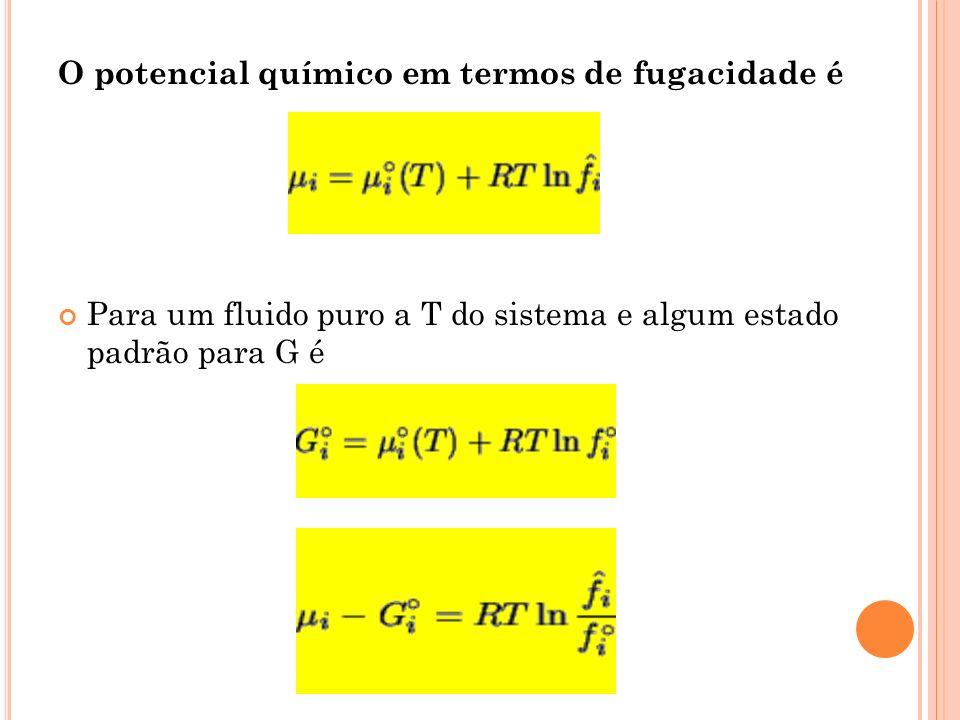 O potencial químico em termos de fugacidade é Para um fluido puro a T do sistema e algum estado padrão para G é