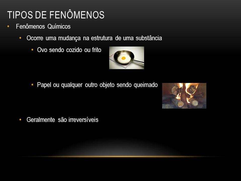 Fenômenos Químicos Ocorre uma mudança na estrutura de uma substância Ovo sendo cozido ou frito Papel ou qualquer outro objeto sendo queimado Geralment