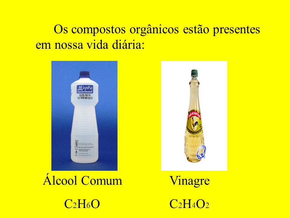 Os compostos orgânicos estão presentes em nossa vida diária: Álcool Comum C 2 H 6 O Vinagre C 2 H 4 O 2