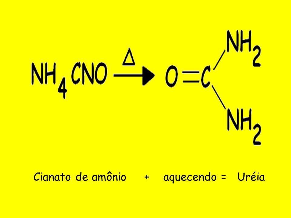 Cianato de amônio + aquecendo = Uréia