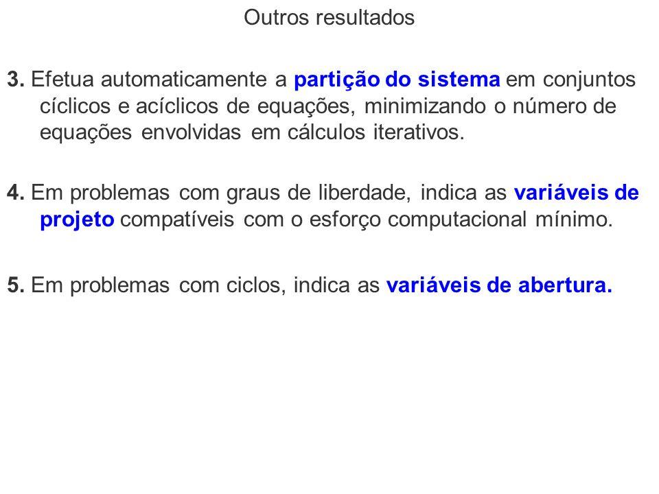 Outros resultados 4. Em problemas com graus de liberdade, indica as variáveis de projeto compatíveis com o esforço computacional mínimo. 3. Efetua aut