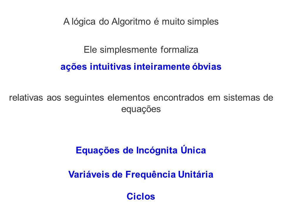 Ele simplesmente formaliza ações intuitivas inteiramente óbvias A lógica do Algoritmo é muito simples relativas aos seguintes elementos encontrados em