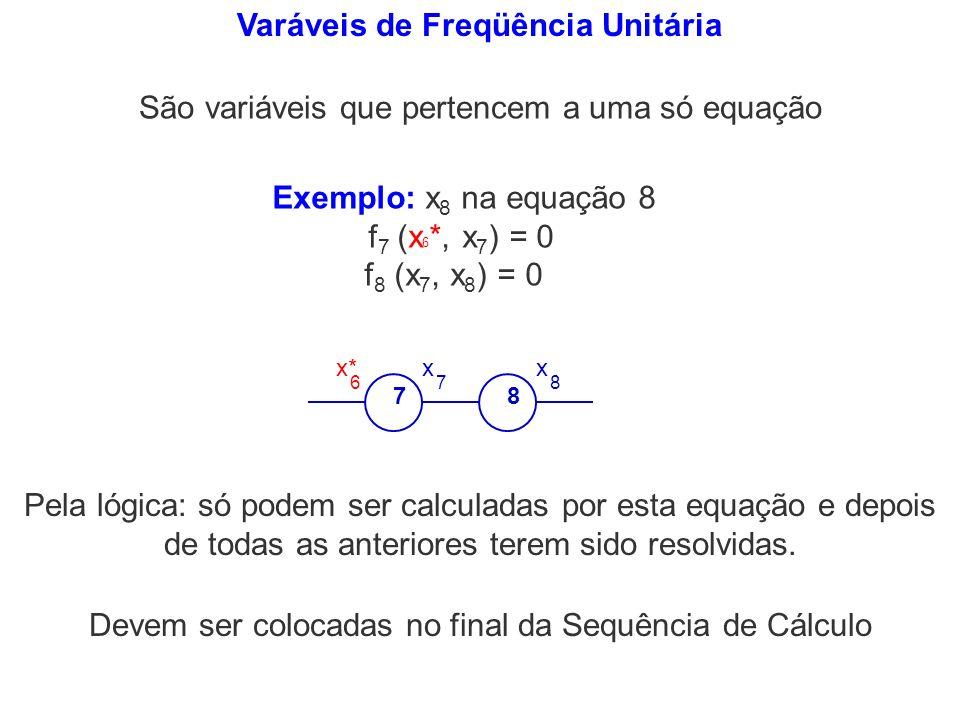 Varáveis de Freqüência Unitária São variáveis que pertencem a uma só equação Exemplo: x 8 na equação 8 f 7 (x 6 *, x 7 ) = 0 f 8 (x 7, x 8 ) = 0 78 x*