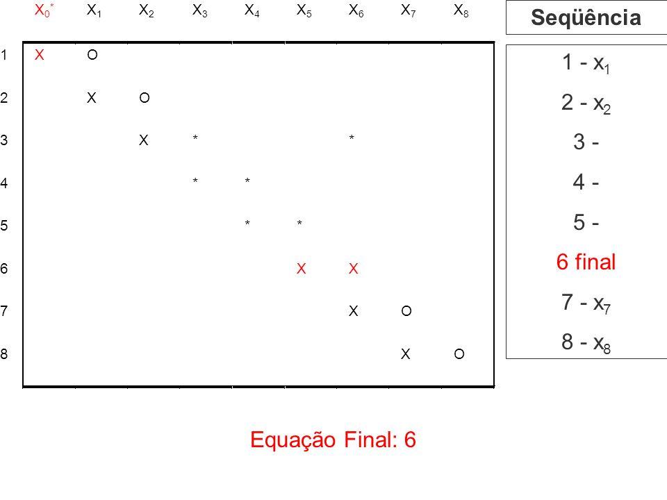 Equação Final: 6 1 - x 1 2 - x 2 3 - 4 - 5 - 6 final 7 - x 7 8 - x 8 Seqüência