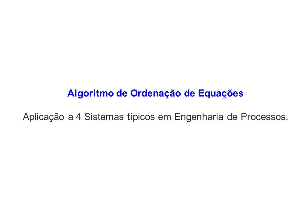 Algoritmo de Ordenação de Equações Aplicação a 4 Sistemas típicos em Engenharia de Processos.