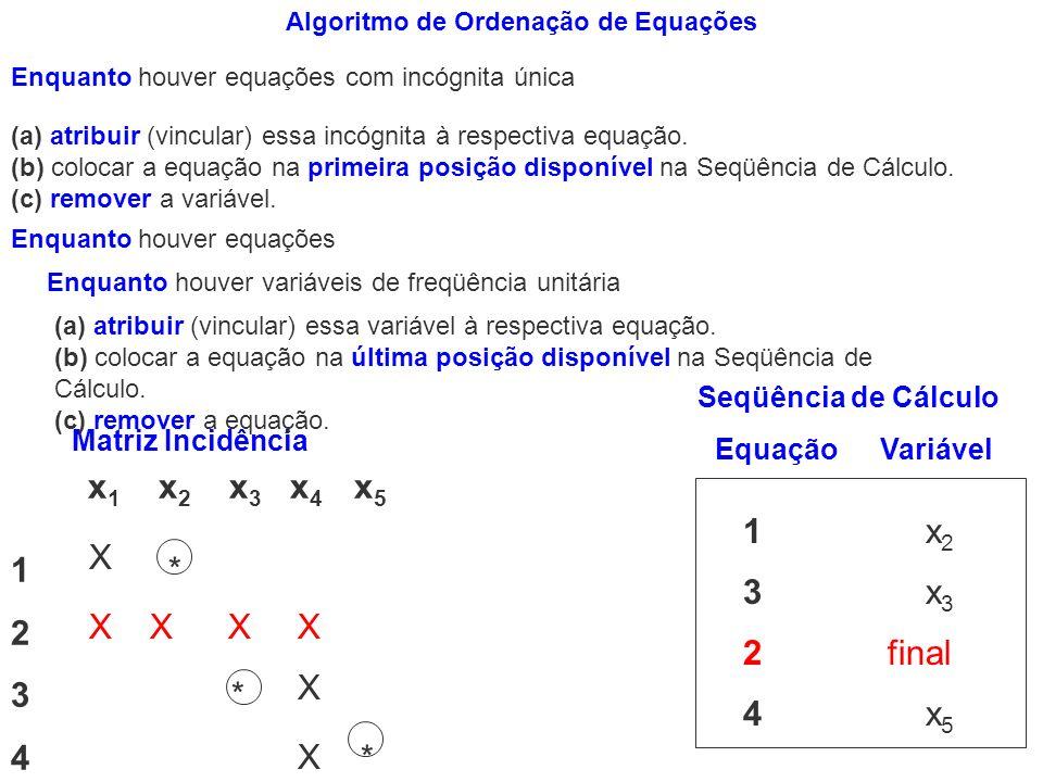 Matriz Incidência x 1 x 2 x 3 x 4 x 5 1 * * 2 * * * * 3 * * 4 * * X XXX X 4 x 5 3 x 3 1 x 2 2 final Seqüência de Cálculo EquaçãoVariável X X Enquanto