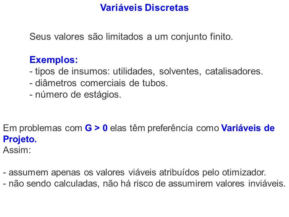 Variáveis Discretas Seus valores são limitados a um conjunto finito. Exemplos: - tipos de insumos: utilidades, solventes, catalisadores. - diâmetros c
