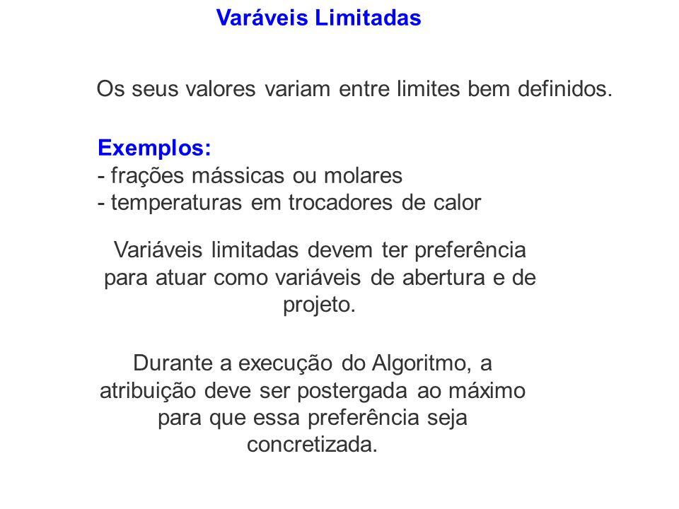Varáveis Limitadas Os seus valores variam entre limites bem definidos. Exemplos: - frações mássicas ou molares - temperaturas em trocadores de calor V