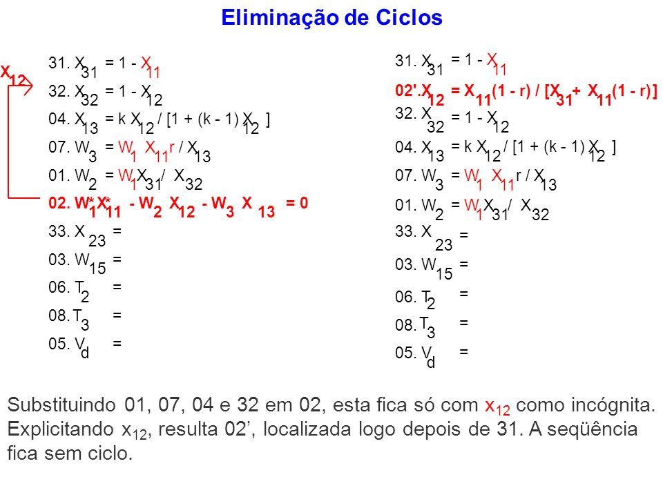Eliminação de Ciclos 31 = 1 - X 11 31. X 32 = 1 - X 12 13 = k X 12 / [1 + (k - 1) X 12 ] 3 = W 1 X 11 r / X 13 01. W 2 = W 1 X 31 / X 32 32. X 23 =03.