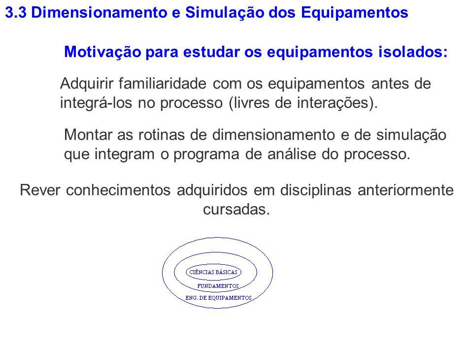 3.3 Dimensionamento e Simulação dos Equipamentos Adquirir familiaridade com os equipamentos antes de integrá-los no processo (livres de interações). M