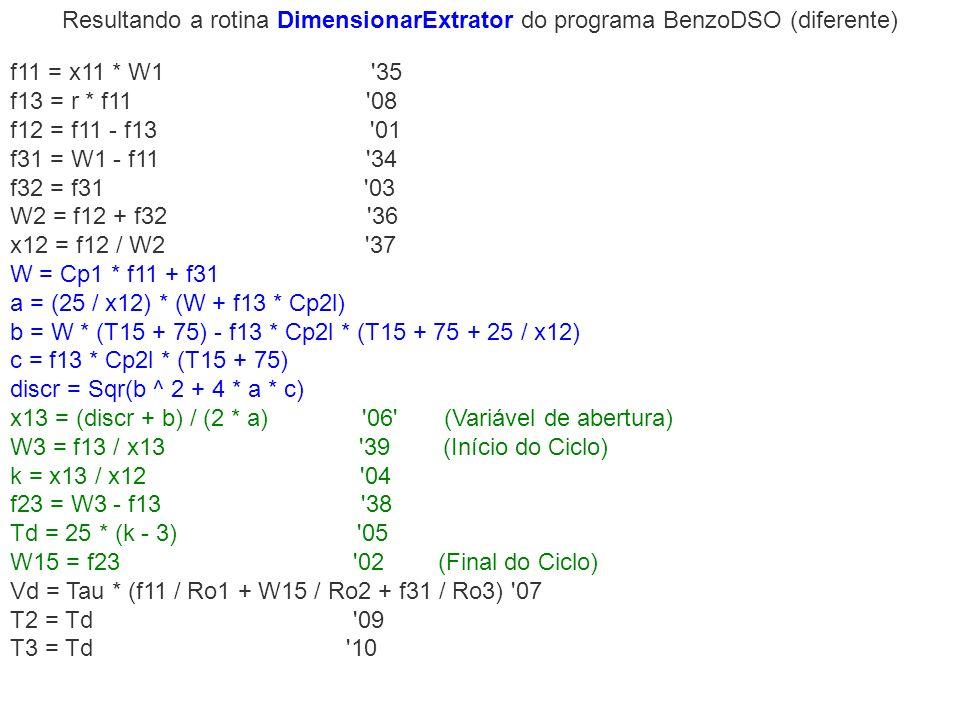 Resultando a rotina DimensionarExtrator do programa BenzoDSO (diferente) f11 = x11 * W1 '35 f13 = r * f11 '08 f12 = f11 - f13 '01 f31 = W1 - f11 '34 f
