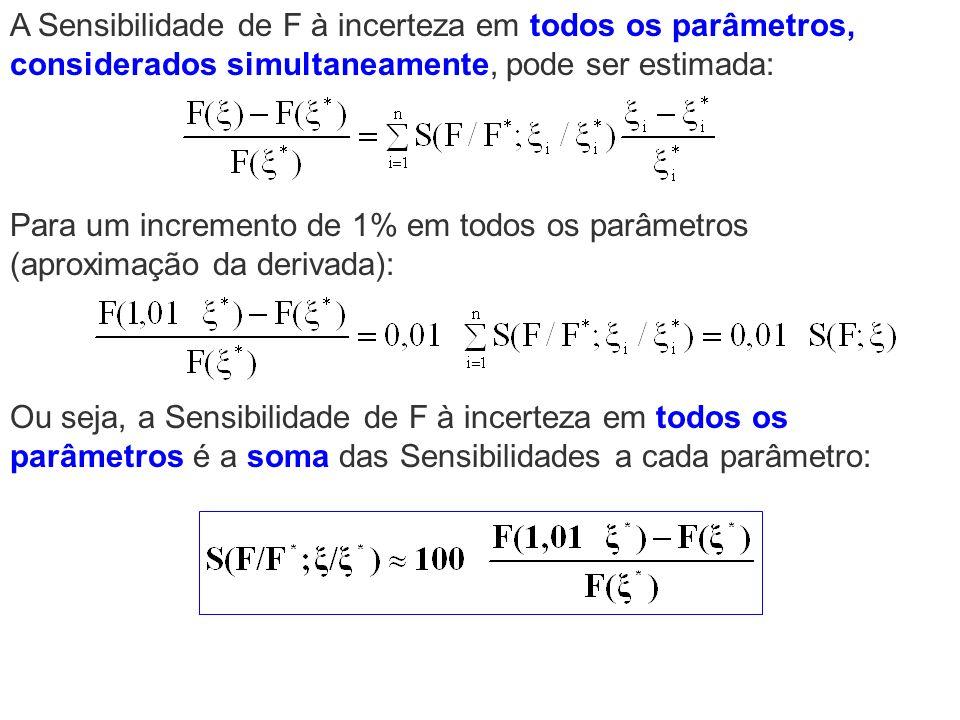 Para um incremento de 1% em todos os parâmetros (aproximação da derivada): Ou seja, a Sensibilidade de F à incerteza em todos os parâmetros é a soma d