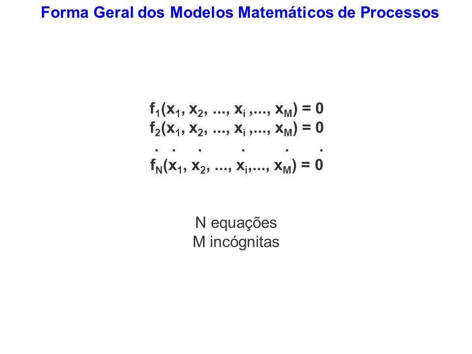 Forma Geral dos Modelos Matemáticos de Processos f 1 (x 1, x 2,..., x i,..., x M ) = 0 f 2 (x 1, x 2,..., x i,..., x M ) = 0...... f N (x 1, x 2,...,