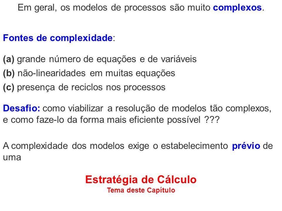 A complexidade dos modelos exige o estabelecimento prévio de uma Estratégia de Cálculo Tema deste Capítulo Fontes de complexidade: Em geral, os modelo