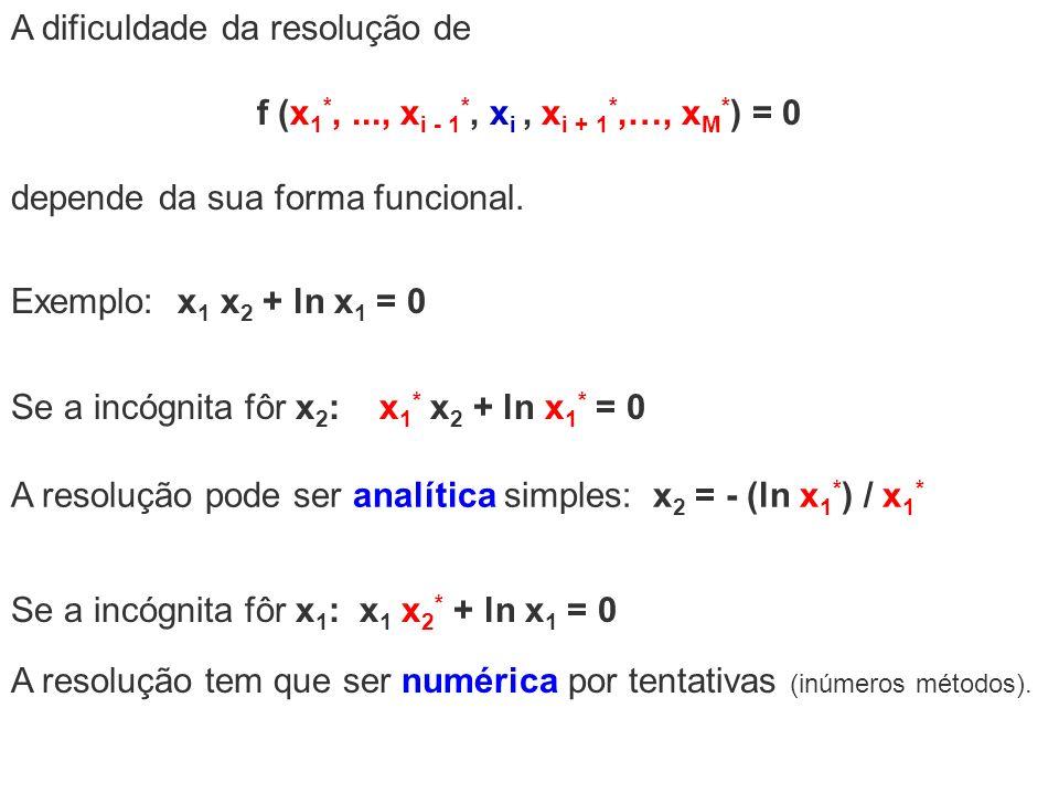 A dificuldade da resolução de f (x 1 *,..., x i - 1 *, x i, x i + 1 *,…, x M * ) = 0 depende da sua forma funcional. Se a incógnita fôr x 2 : x 1 * x