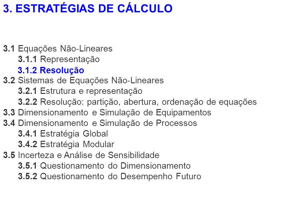 3.1 Equações Não-Lineares 3.1.1 Representação 3.2 Sistemas de Equações Não-Lineares 3.2.1 Estrutura e representação 3.2.2 Resolução: partição, abertur