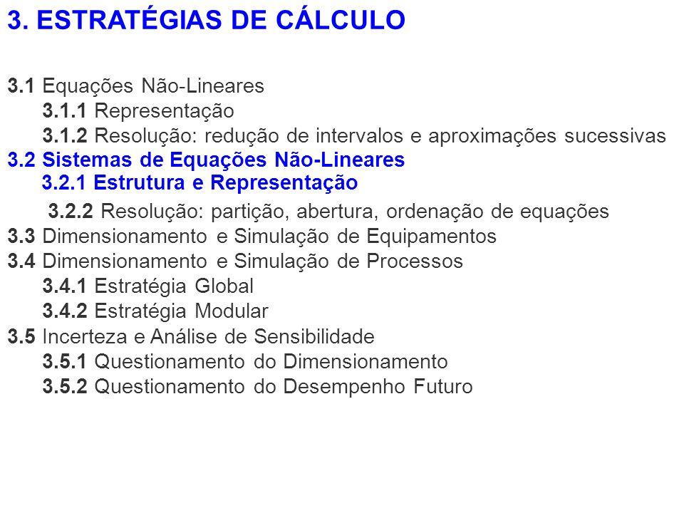 3.1 Equações Não-Lineares 3.1.1 Representação 3.1.2 Resolução: redução de intervalos e aproximações sucessivas 3.2.2 Resolução: partição, abertura, or