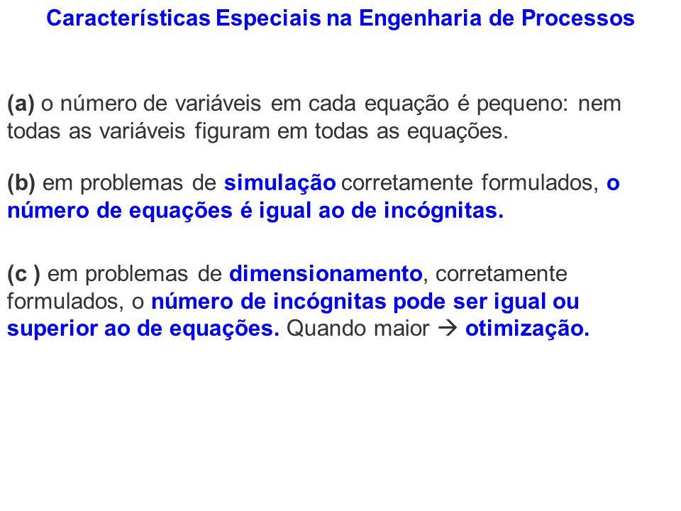 Características Especiais na Engenharia de Processos (a) o número de variáveis em cada equação é pequeno: nem todas as variáveis figuram em todas as e