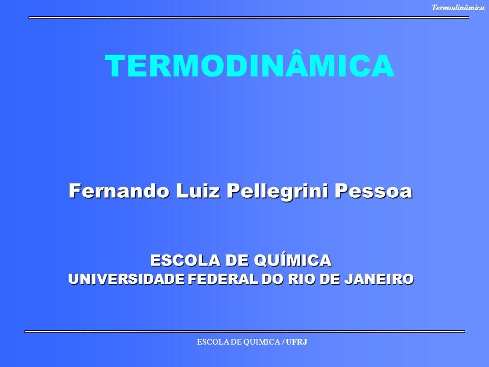 ESCOLA DE QUIMICA / UFRJ Termodinâmica TERMODINÂMICA Fernando Luiz Pellegrini Pessoa ESCOLA DE QUÍMICA UNIVERSIDADE FEDERAL DO RIO DE JANEIRO
