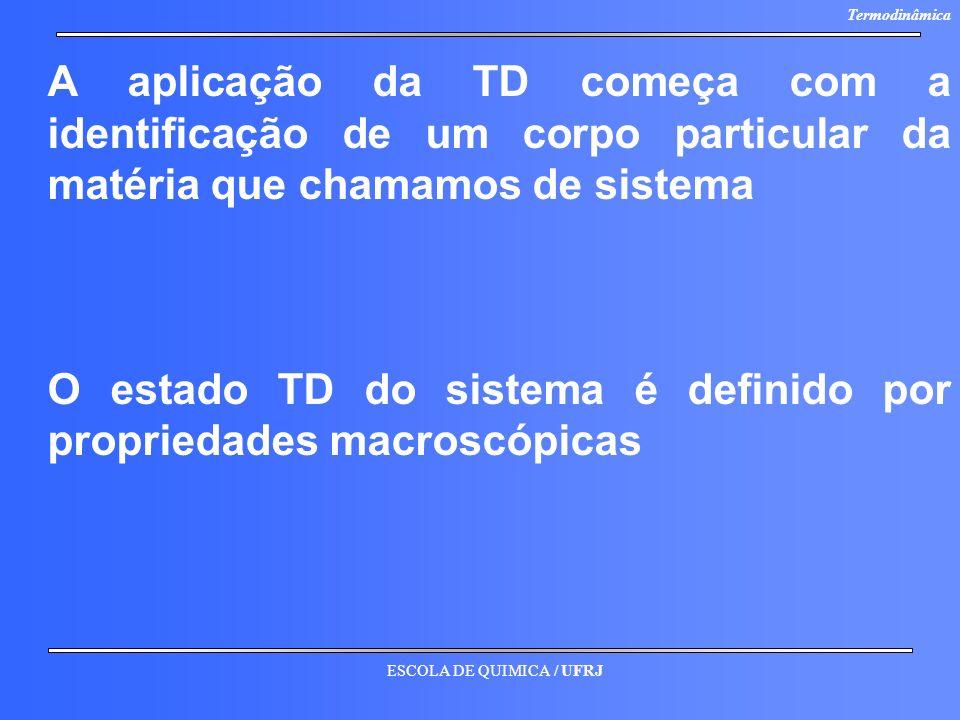 ESCOLA DE QUIMICA / UFRJ Termodinâmica A aplicação da TD começa com a identificação de um corpo particular da matéria que chamamos de sistema O estado