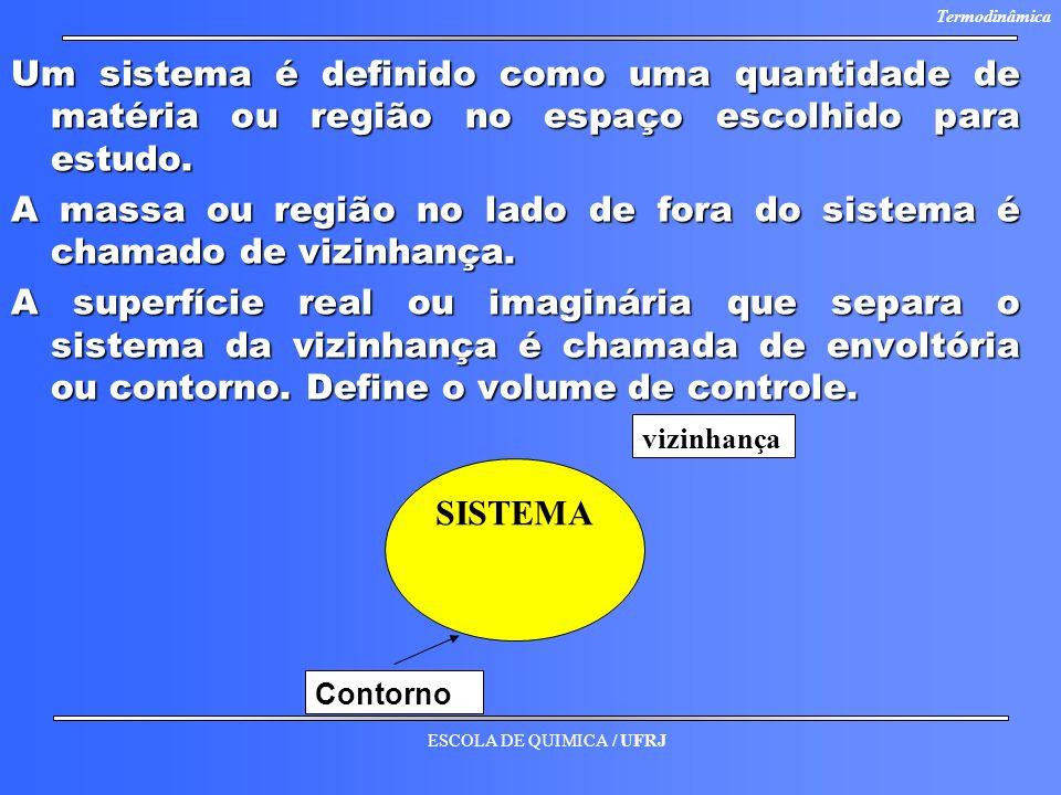 ESCOLA DE QUIMICA / UFRJ Termodinâmica Um sistema é definido como uma quantidade de matéria ou região no espaço escolhido para estudo. A massa ou regi