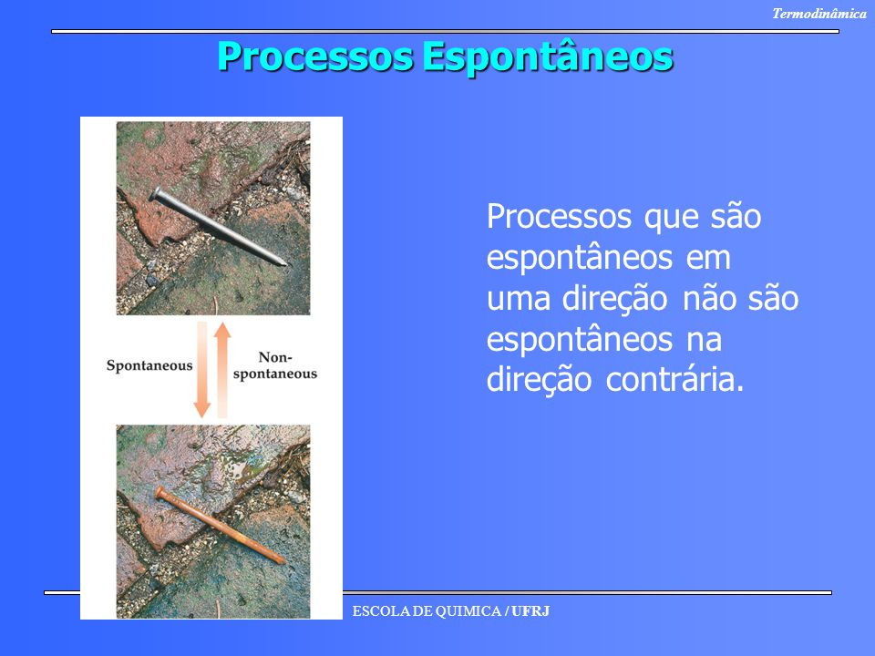 ESCOLA DE QUIMICA / UFRJ Termodinâmica Processos Espontâneos Processos que são espontâneos em uma direção não são espontâneos na direção contrária.